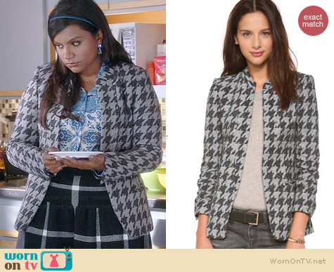 Theory Tamler Houndstooth Jacket worn by Mindy Kaling on The Mindy Project