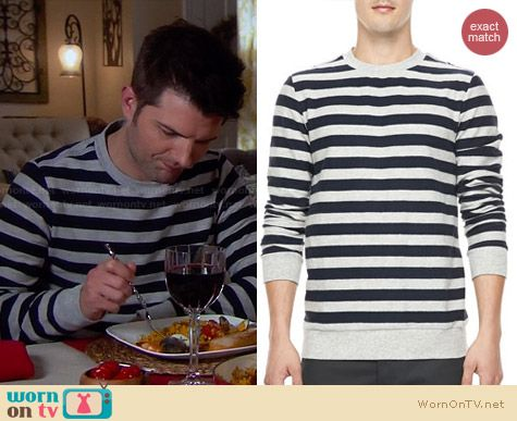 Theory Jove Eclipse Stripe Sweater worn by Adam Scott on Parks & Rec