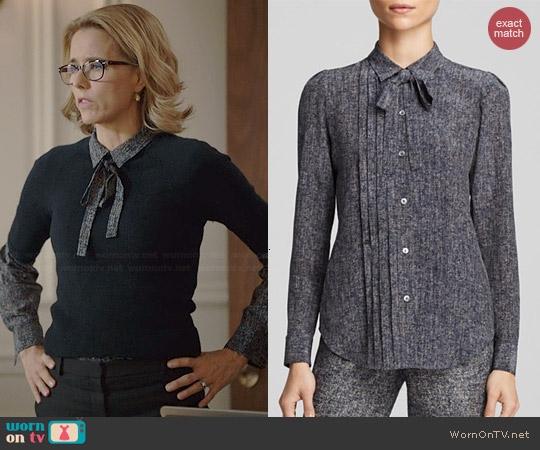 Theory Justeen Silk Tweed Blouse worn by Tea Leoni on Madam Secretary