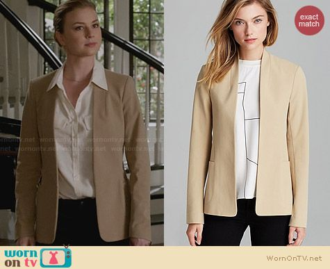 Theory Kacela Checklist Jacket worn by Emily VanCamp on Revenge
