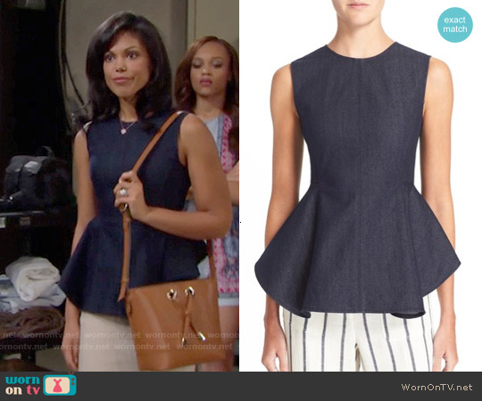 Theory Kalsing Peplum Top worn by Karla Mosley on The Bold & the Beautiful