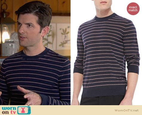 Theory Laine Sweater in New Sovereign worn by Adam Scott on Parks & Rec