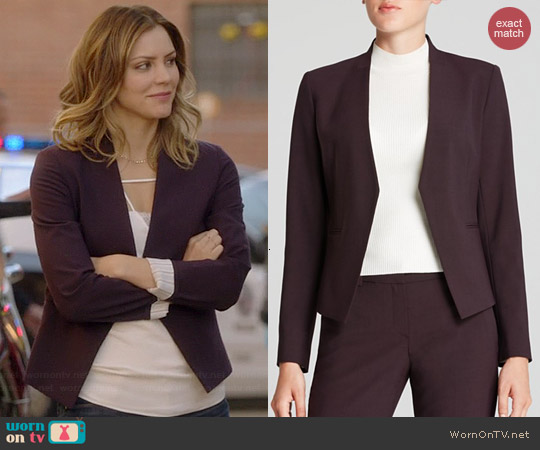 Theory Lanai Blazer in Merlot worn by Katharine McPhee on Scorpion