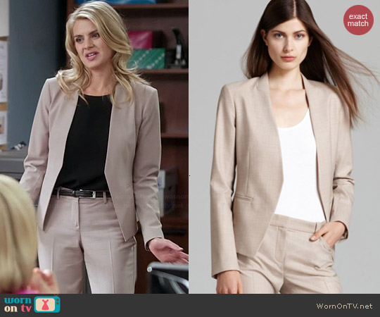 Theory Lanai Blazer in Oatmeal worn by Eliza Coupe on Benched