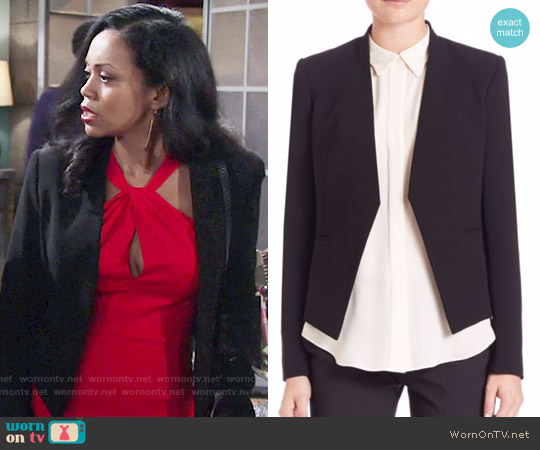 Theory Lanai Open Jacket worn by Hilary Curtis on The Young & the Restless