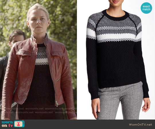 23b0b1441a63 WornOnTV  Emma s black and white sweater on Once Upon a Time ...