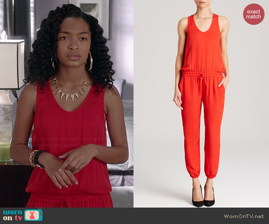 Theory Lortan Silk Georgette Jumpsuit in Valencia worn by Yara Shahidi on Black-ish