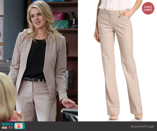 Theory Max Pants in Oatmeal worn by Eliza Coupe on Benched