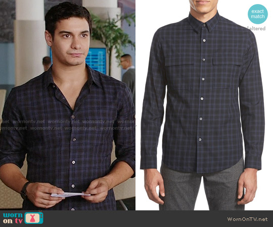 Theory Mikon Shirt in Surge Blue Multi worn by Elyes Gabel on Scorpion