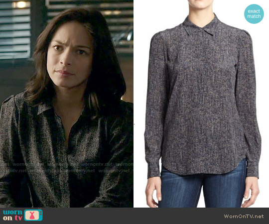 theory Milka Tweed Print Silk Blouse worn by Kristin Kreuk on Beauty & the Beast