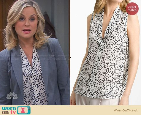 Theory Moha Abstract Print Top worn by Amy Poehler on Parks & Rec
