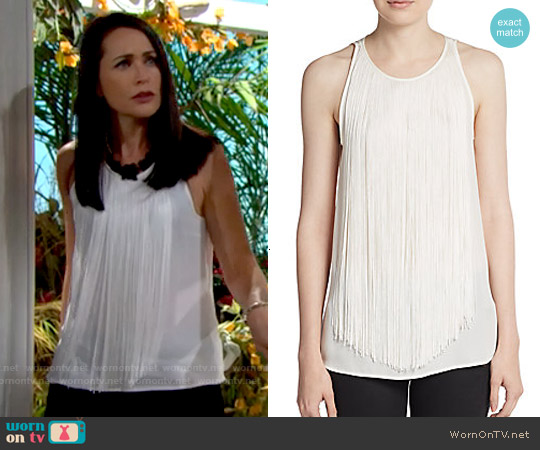 Theory Montien Silk top worn by Rena Sofer on The Bold & the Beautiful