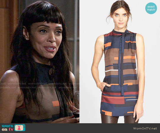 Theory Nitee Print Silk Top worn by Tamara Taylor on Bones
