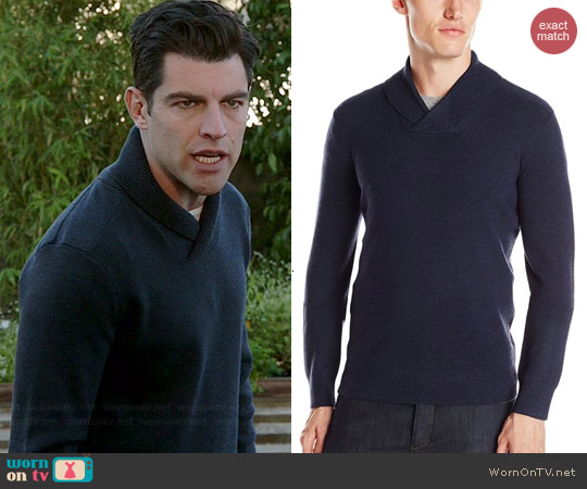 Theory Reece Sweater in Slate worn by Max Greenfield on New Girl