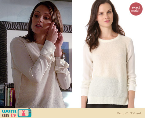 Theory Rolleena Sweater worn by Italia Ricci on Chasing Life