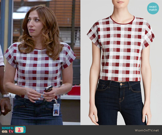Theory Seblyn Top in Beetroot worn by Chelsea Peretti on Brooklyn Nine-Nine