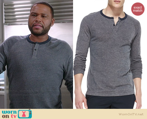 Theory Soft-Pique Henley worn by Anthony Anderson on Black-ish