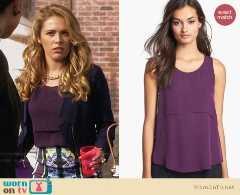 Theory Sondray Tank in Elderberry worn by Natalie Hall on Star Crossed