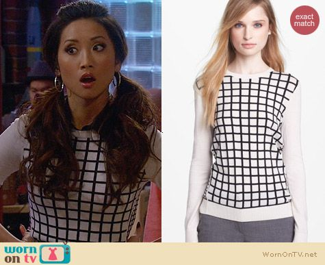 Theory Tommy Grid Sweater worn by Brenda Song on Dads