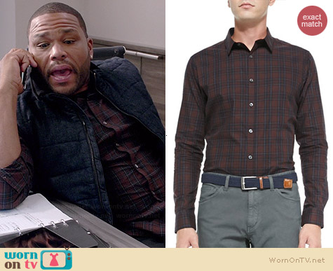 Theory Zack PS Rhone Plaid Shirt worn by Anthony Anderson on Black-ish