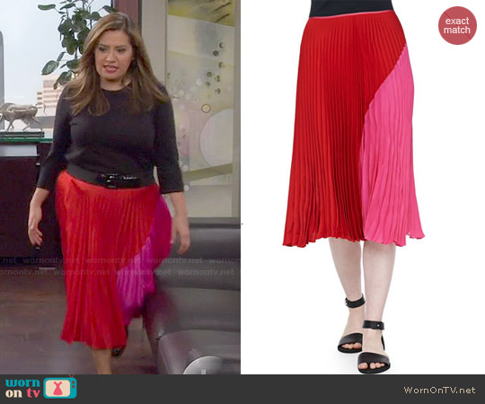 Theory 'Zeyn' Colorblock Pleated Skirt worn by Cristela Alonzo on Cristela