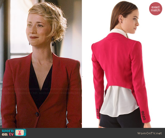 Theyskens Theory Jipsi Fologna Blazer in Red worn by Karine Vanasse on Revenge