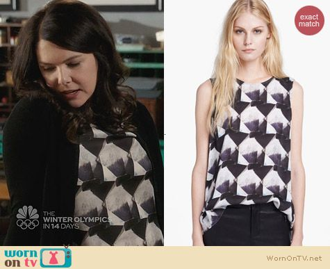 Theyskens Theory Bolin Irock Silk Blouse worn by Lauren Graham on Parenthood