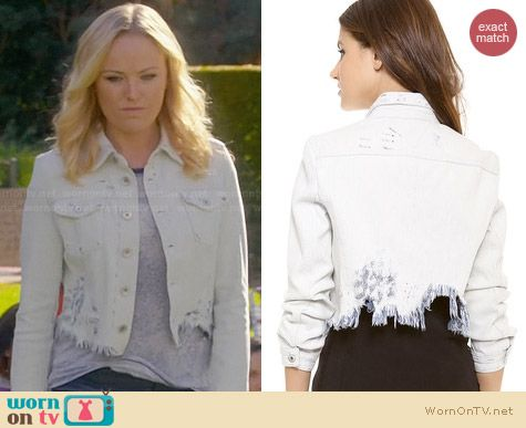 Theyskens Theory Jenja Wupp Denim Jacket worn by Malin Akerman on Trophy Wife