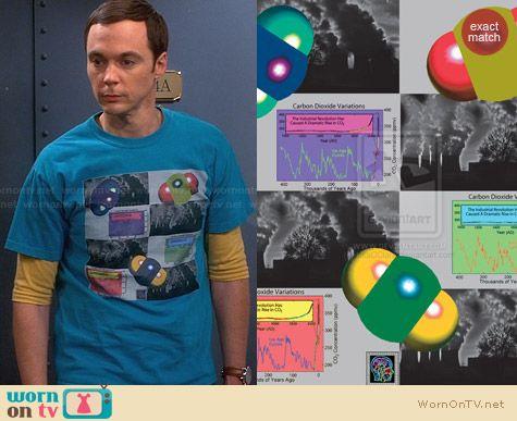 Thinker Clothing Atmospheric c02 Tshirt worn by Jim Parsons on The Big Bang Theory