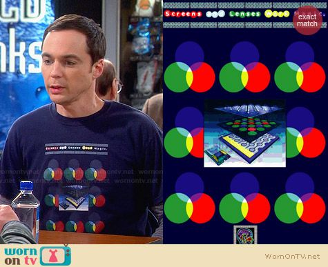 Thinker Clothing Screens and Lenses Work Magic Tshirt worn by Sheldon Cooper on The Big Bang Theory