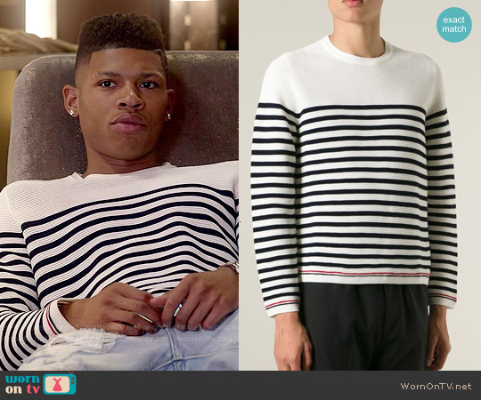 Thom Browne Striped Crew Neck Sweater worn by Bryshere Y. Gray on Empire