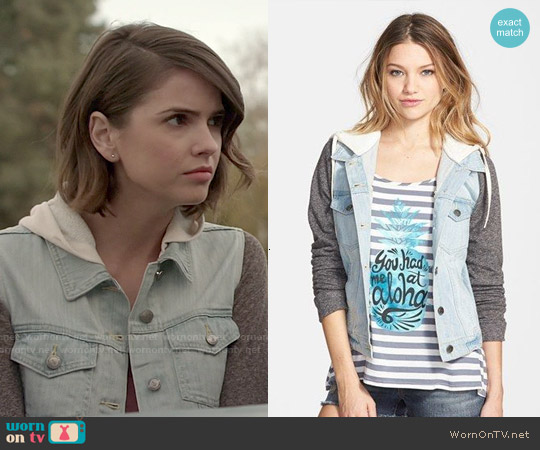 Thread & Supply Hooded Denim Jacket with Fleece Sleeves worn by Shelley Hennig on Teen Wolf