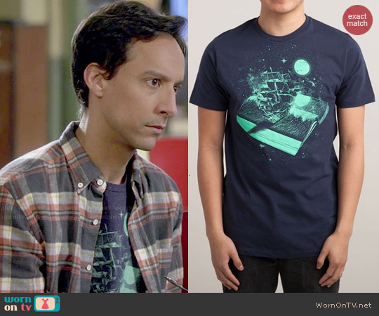 Threadless Crossing the Rough Sea of Knowledge Tee worn by Danny Pudi on Community