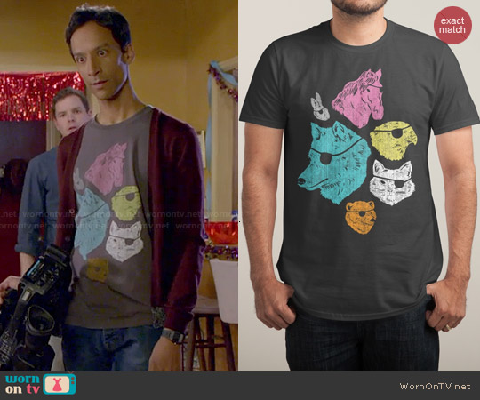 Threadless Animals with Eyepatches Tee worn by Danny Pudi on Community