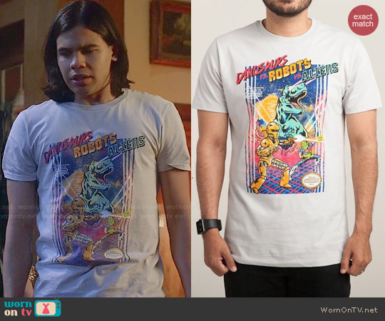 Threadless Dinosaurs vs. Robots vs. Aliens Tee worn by Carlos Valdes on The Flash