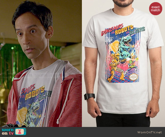 Threadless Dinosaurs vs. Robots vs. Aliens Tee worn by Danny Pudi on Community