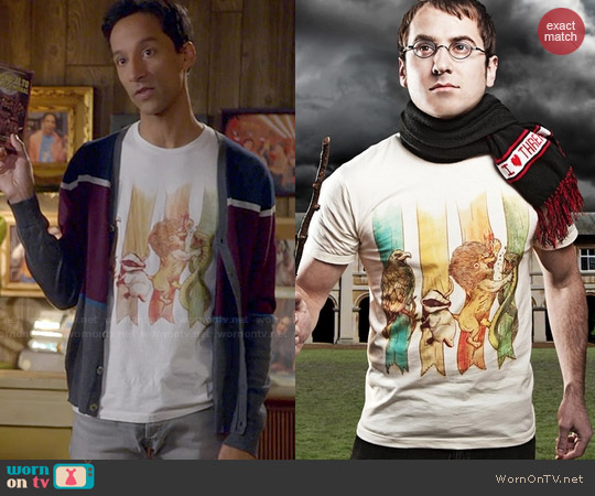 Threadless House Brawl Tee worn by Danny Pudi on Community