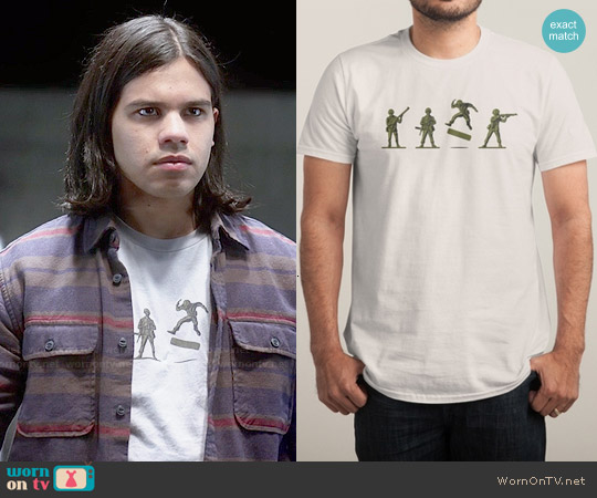 Threadless Khaki Kickflip T-shirt worn by Carlos Valdes on The Flash