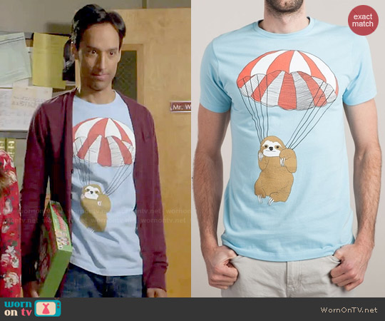 Threadless Parachuting Sloth Tee worn by Danny Pudi on Community