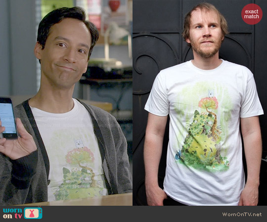 Threadless The Friendly Spirit Tee worn by Danny Pudi on Community