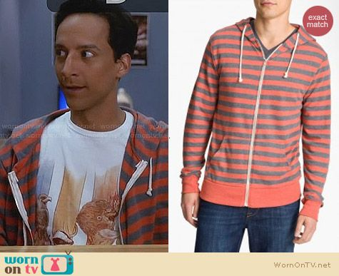 Threads for Thought French Terry Striped Hoodie worn by Danny Pudi on Community