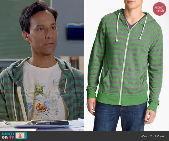 Thrads for Thought Green Striped Hoodie worn by Abed Nadir on Community