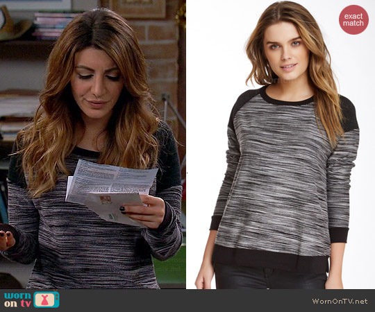 Three Dots Contrast Boxy Sweatshirt worn by Nasim Pedrad on Mulaney