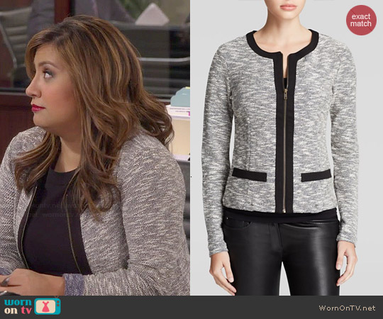Three Dots Metallic Tweed Jacket worn by Cristela Alonzo on Cristela