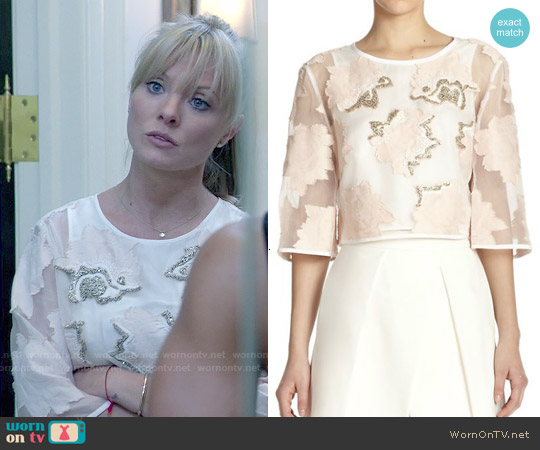 Tibi Ayame Fil Coupe Beaded Cropped Top worn by Kaitlin Doubleday on Empire