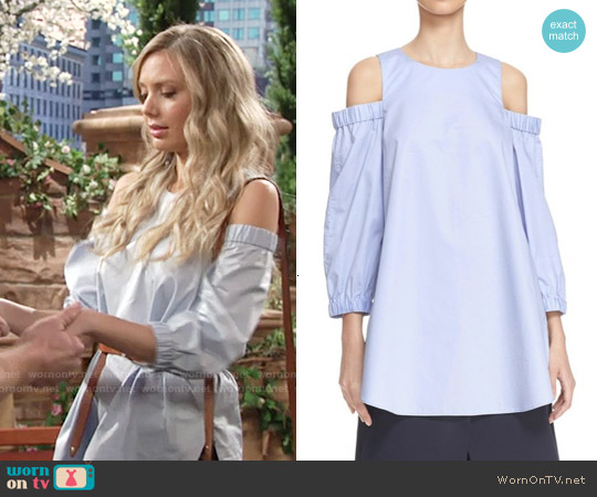 Tibi Satin Poplin Cold Shoulder Top worn by Melissa Ordway on The Young & the Restless