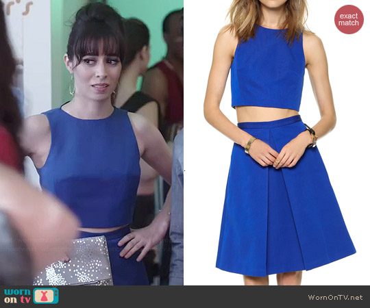 Tibi Katia Faille Crop Top and Pleated Skirt worn by Cristin Milioti on A to Z