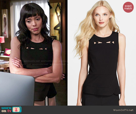 Tibi Embroidered Cutout Ponte Peplum Top worn by Tamara Taylor on Bones