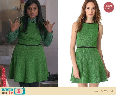 Tibi Green Tweed Knit Flare Dress worn by Mindy Kaling on The Mindy Project