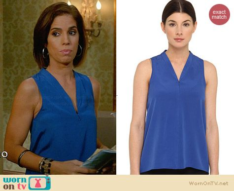 Tibi Silk Zip Up Tank in Sapphire worn by Ana Ortiz on Devious Maids